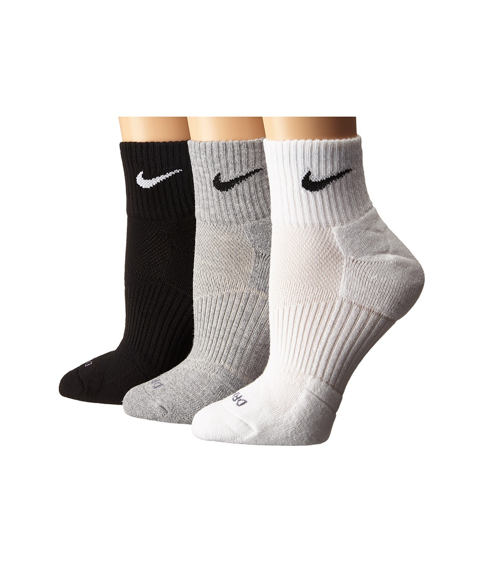 Nike - Dri-FIT Cushion Quarter 3 Pack (Multicolor) Quarter Length Socks Shoes