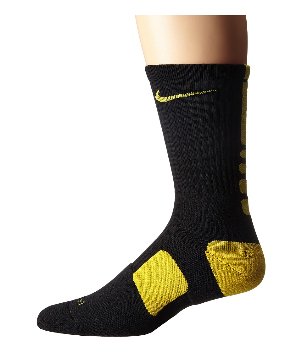 Nike - Elite Basketball Crew (Black/Varsity Maize/Varsity Maize) Crew Cut Socks Shoes