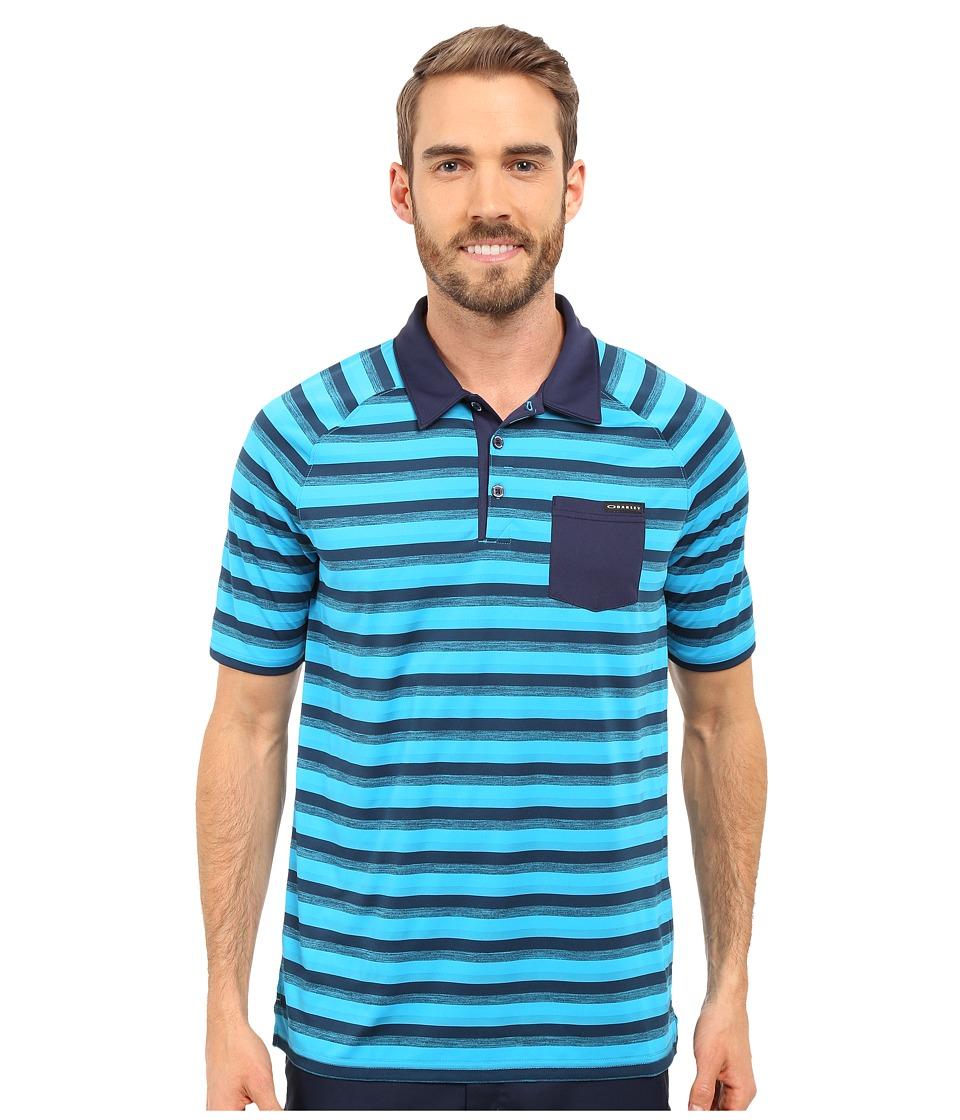 Oakley - Ace Stripe Polo (Pacific Blue) Men's Short Sleeve Pullover