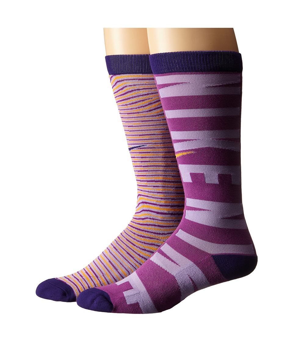 Nike Kids - Graphic Cotton Knee High 2-Pair Pack (Toddler/Little Kid/Big Kid) (Multicolor 8) Girls Shoes