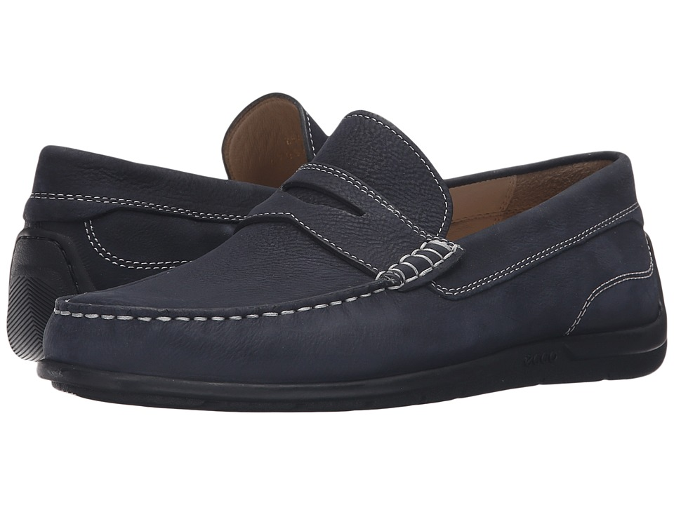 ECCO - Classic Moc 2.0 Loafer (Navy) Men's Slip on Shoes