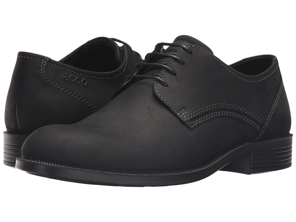 ECCO - Harold Derby Tie (Black/Black) Men's Shoes