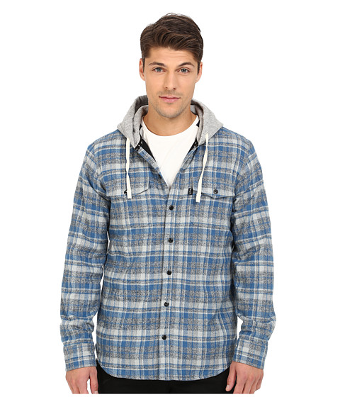 HUF - Mason Hooded Flannel Shirt (Blue) Men