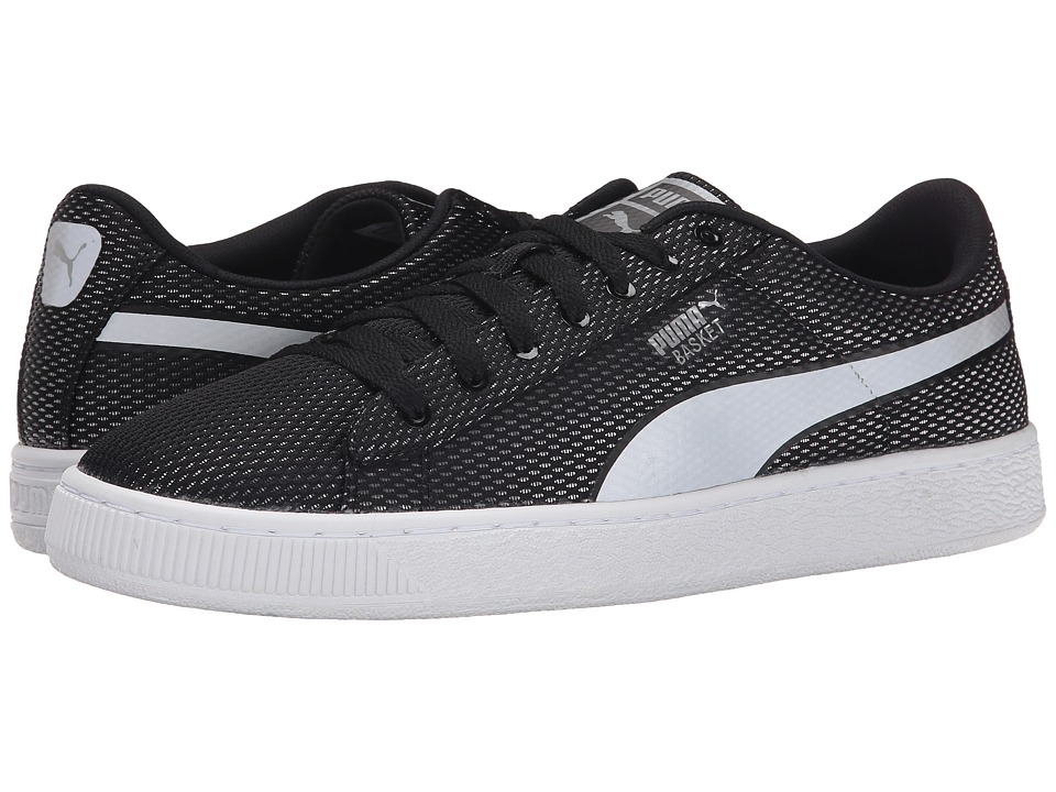 PUMA - Basket Mesh (Black/Limestone Gray) Men's Shoes