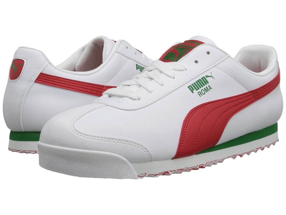 PUMA - Roma L Slash (White/High Risk Red) Men's Shoes
