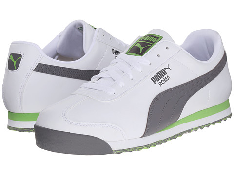 PUMA - Roma L Slash (White/Steel Gray/Jasmine) Men's Shoes