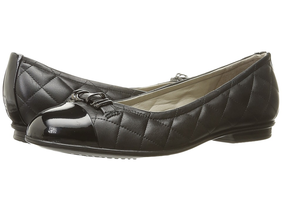 ECCO - Touch Quilted Ballerina (Black/Black) Women's Slip on Shoes