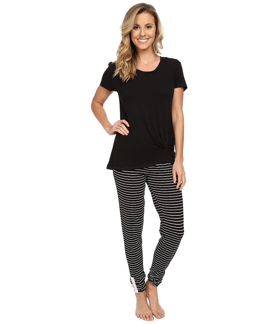 Splendid - Shirred Shirt PJ Set (Black) Women's Pajama Sets