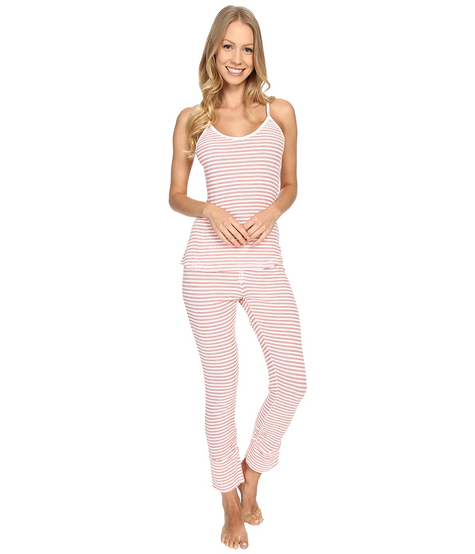 Splendid - Stripe Capris PJ Set (Coral Stripe) Women's Pajama Sets