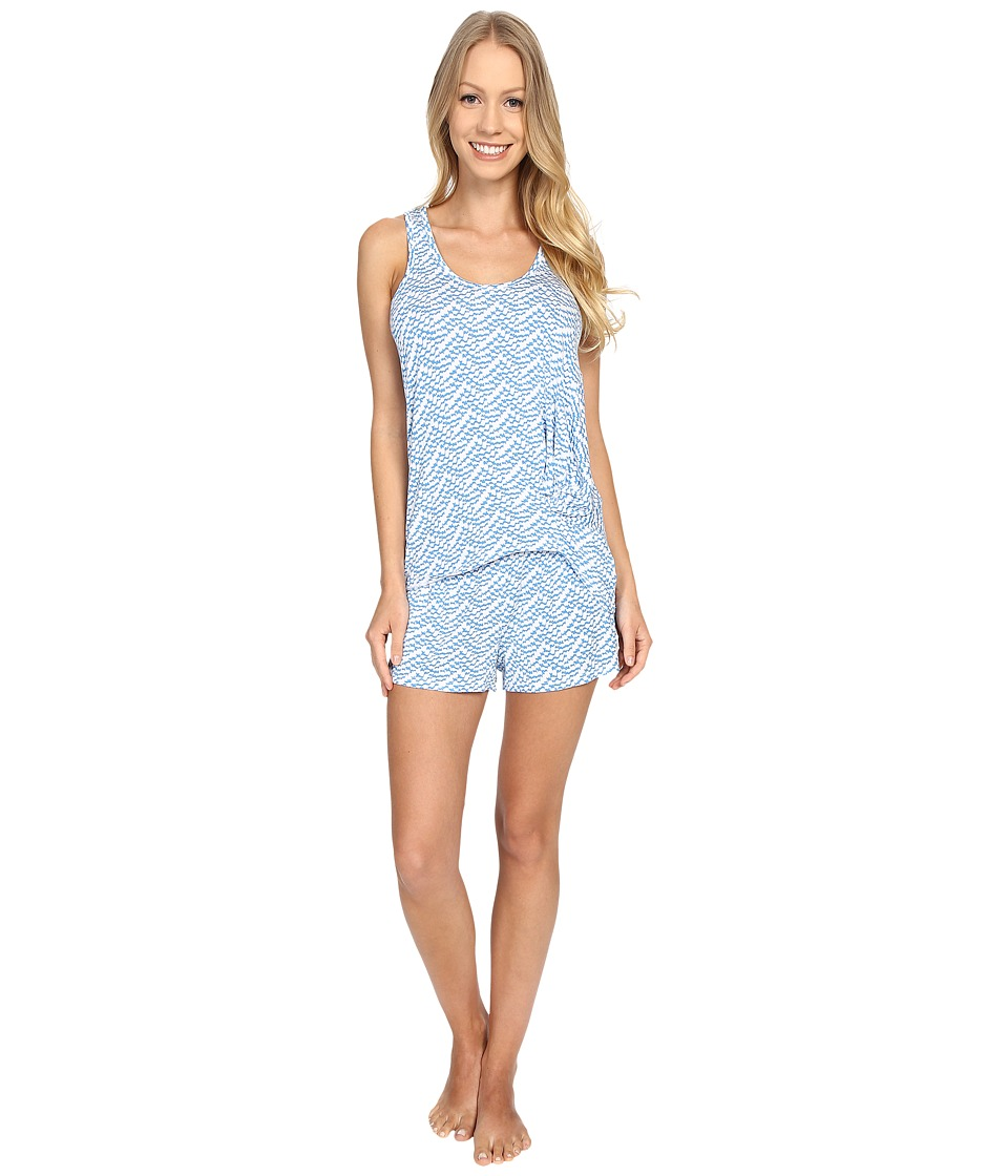 Splendid - Tank Top Shortie Set (Blue Scallop) Women's Pajama Sets