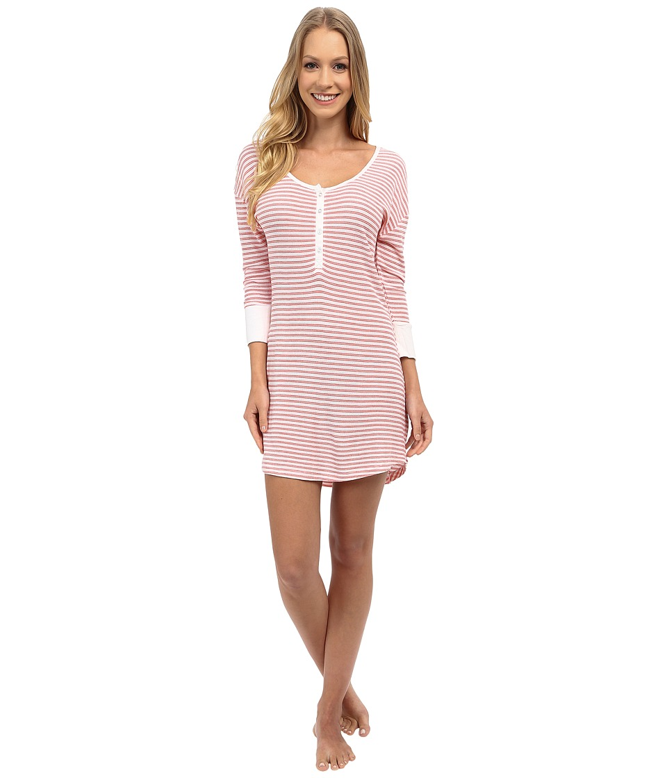 Splendid - Pique Henley Sleepshirt (Coral Stripe) Women's Pajama