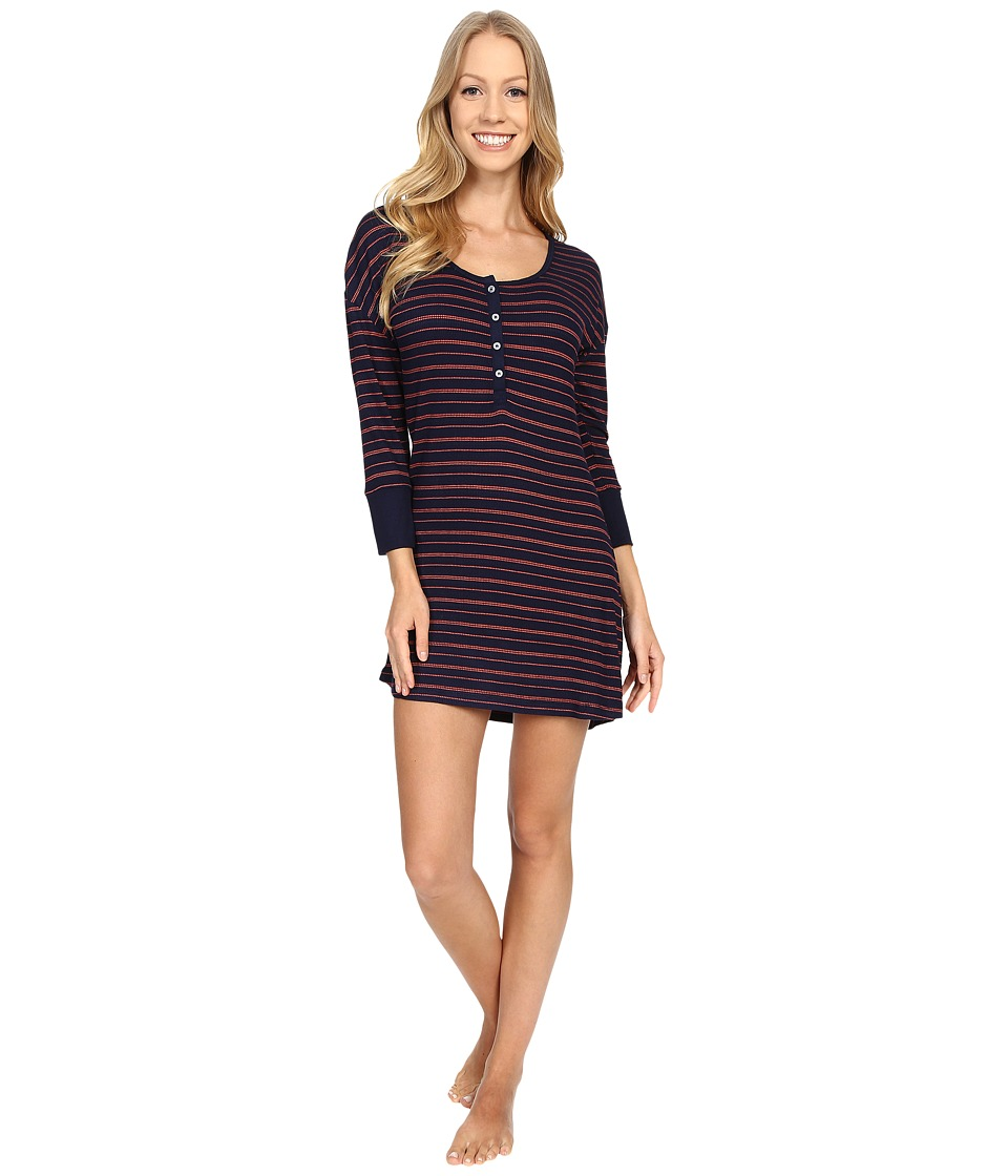Splendid - Pique Henley Sleepshirt (Navy Stripe) Women's Pajama