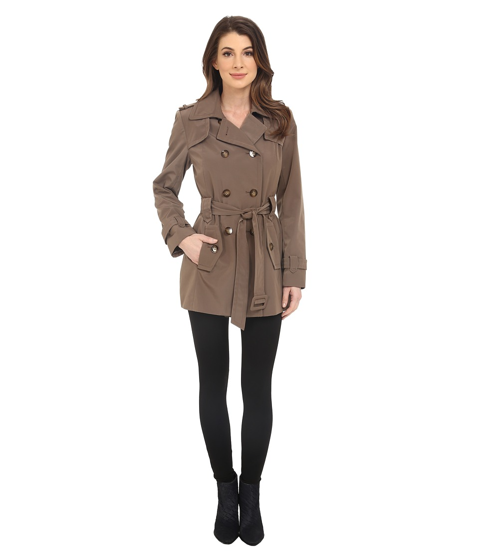 Calvin Klein - Double Breasted Belted Trench w/ Gunflaps (Truffle) Women's Coat