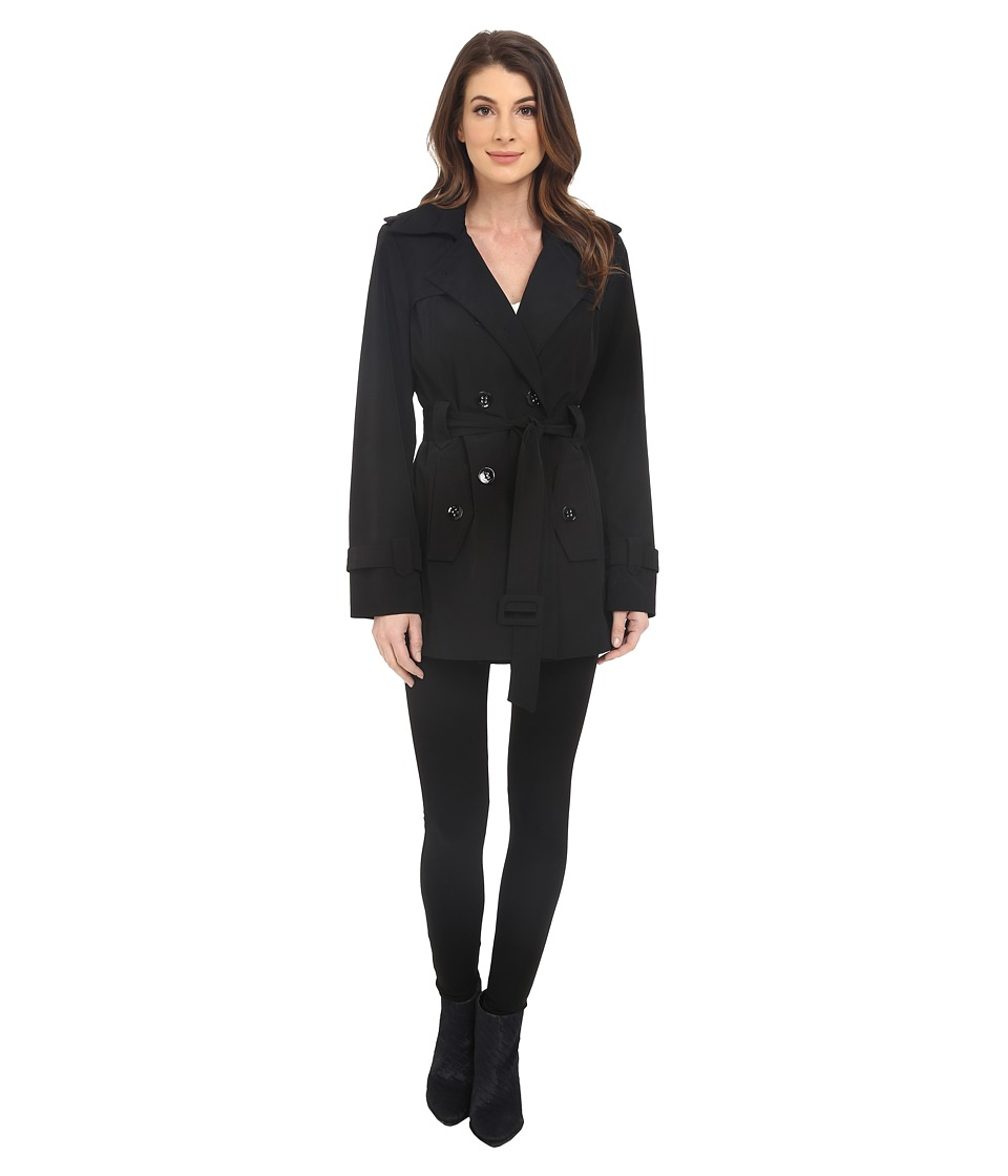 Calvin Klein - Double Breasted Belted Trench w/ Gunflaps (Black) Women's Coat