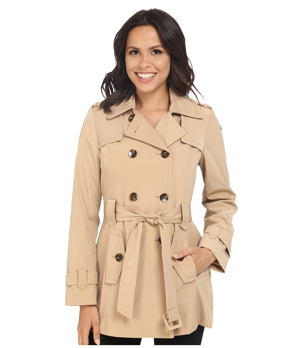 Calvin Klein - Double Breasted Belted Trench w/ Gunflaps (Khaki) Women's Coat