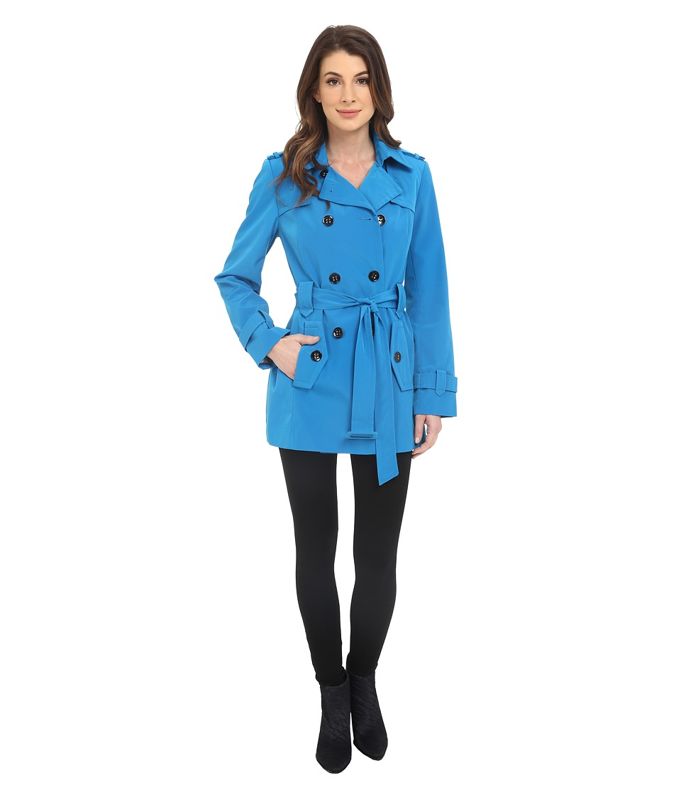 Calvin Klein - Double Breasted Belted Trench w/ Gunflaps (Capri Blue) Women's Coat