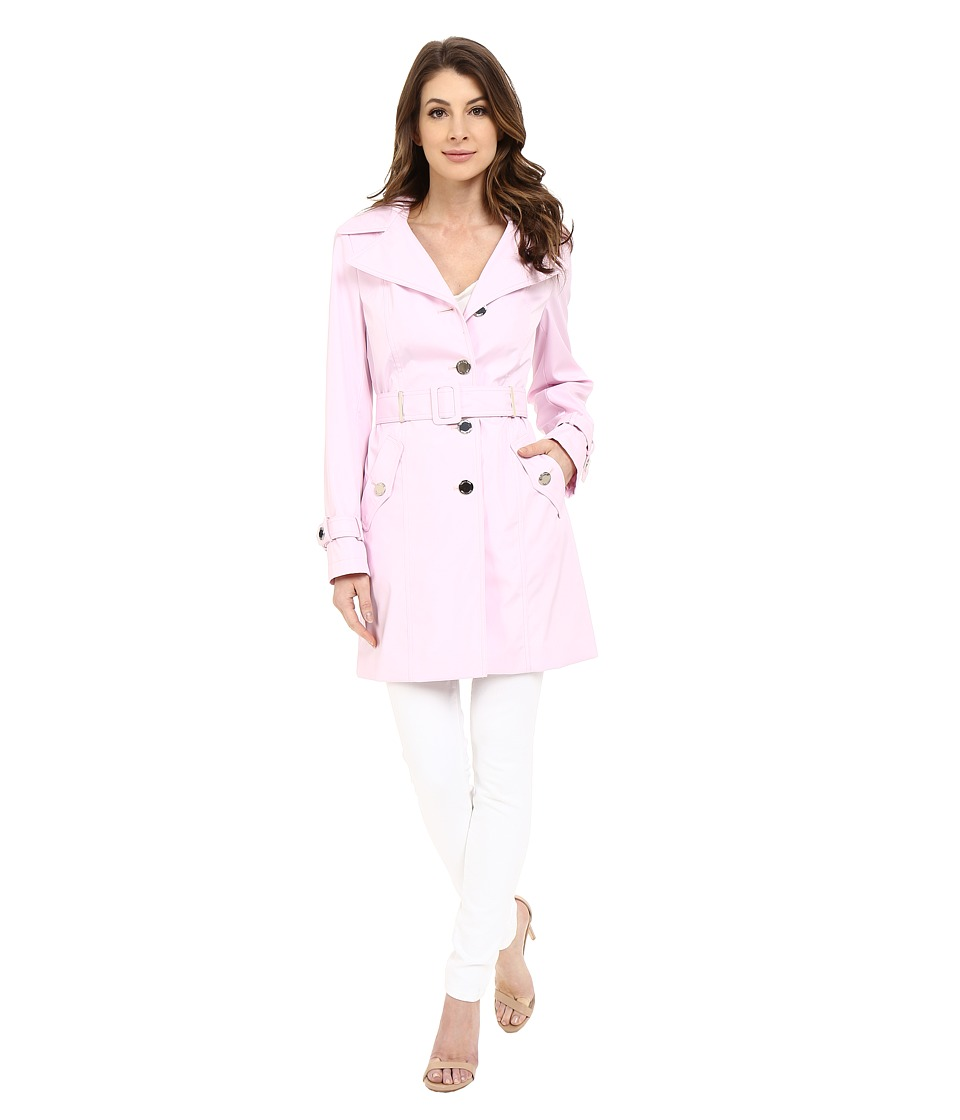 Calvin Klein - Single Breasted Hooded Belted Trench w/ Printed Liner (Pink) Women's Coat