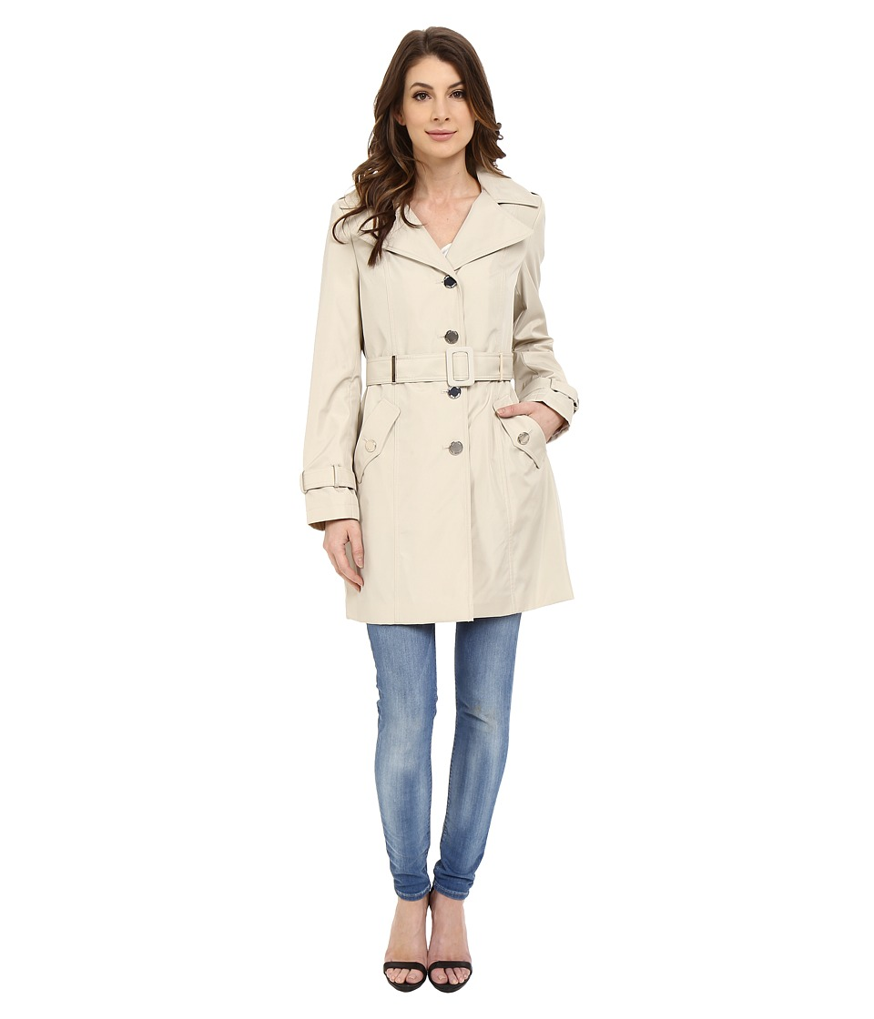 Calvin Klein - Single Breasted Hooded Belted Trench w/ Printed Liner (Buff) Women's Coat