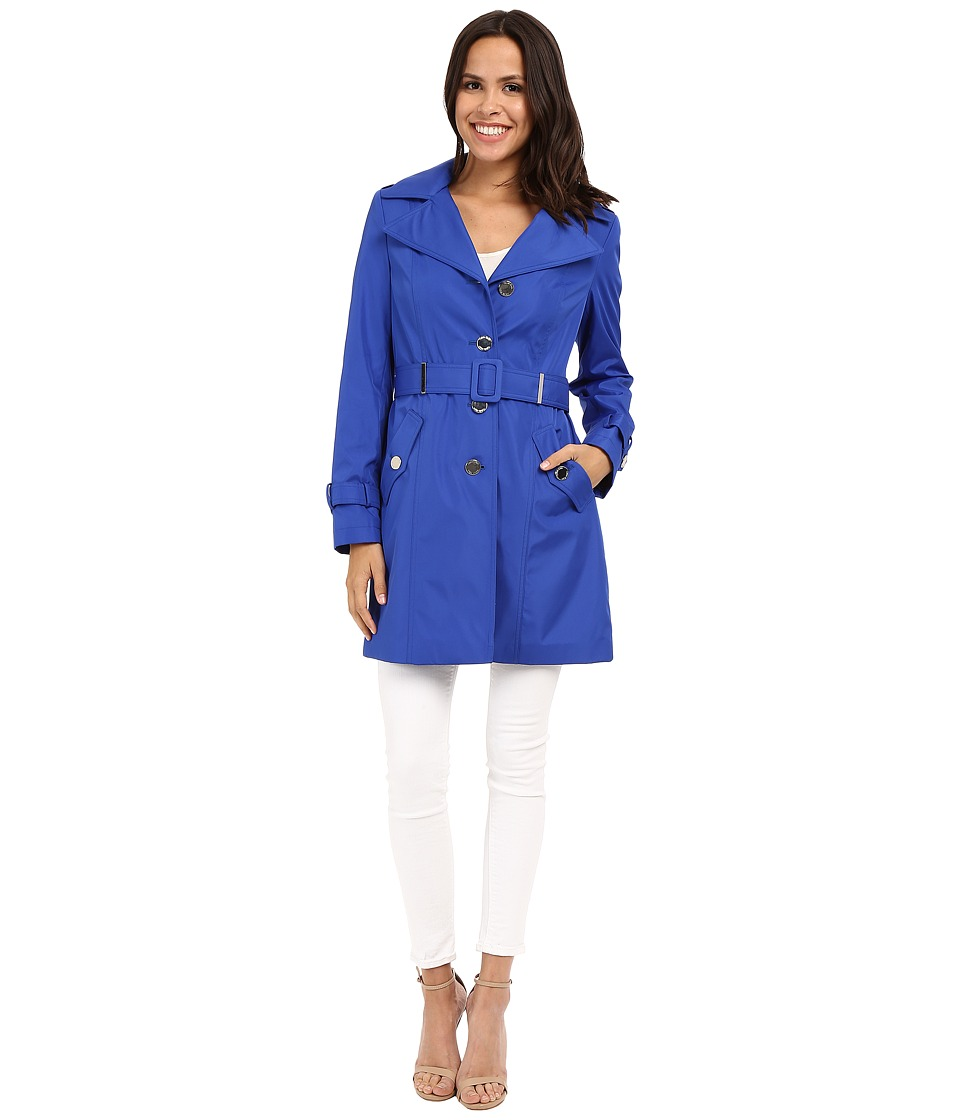 Calvin Klein - Single Breasted Hooded Belted Trench w/ Printed Liner (Royal Blue) Women's Coat