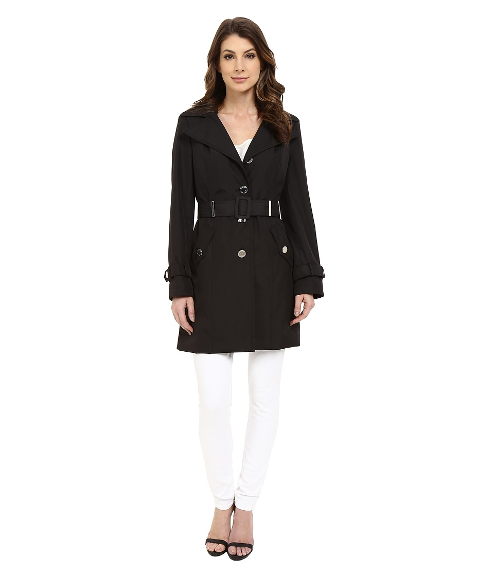 Calvin Klein - Single Breasted Hooded Belted Trench w/ Printed Liner (Black) Women's Coat