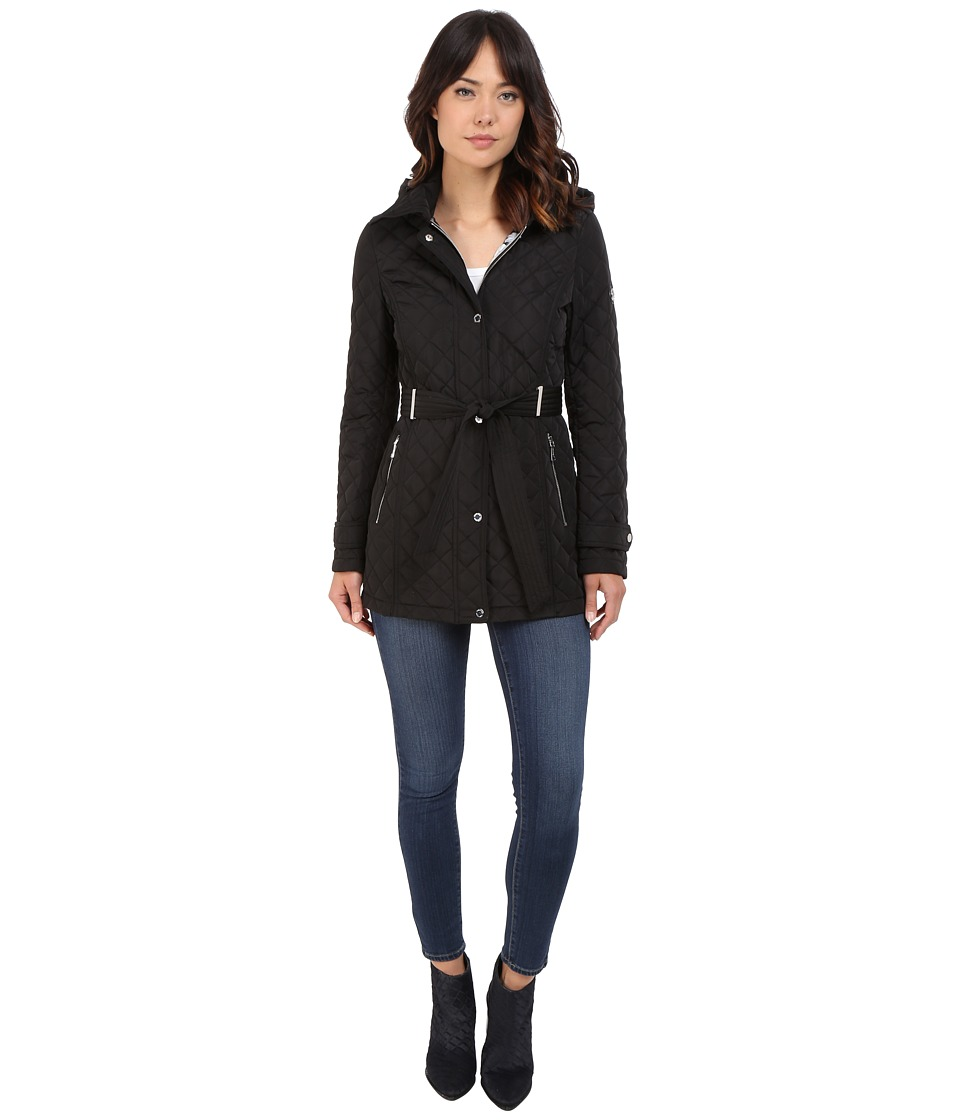 Calvin Klein - Belted Hooded Quilt w/ Hardware Detail (Black) Women's Coat