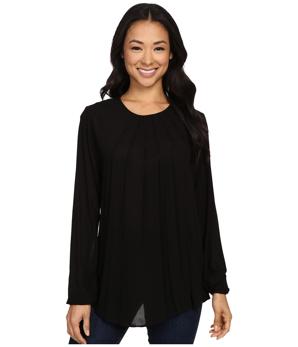 B Collection by Bobeau - Wren Pleat Neckline Blouse (Black) Women's Blouse