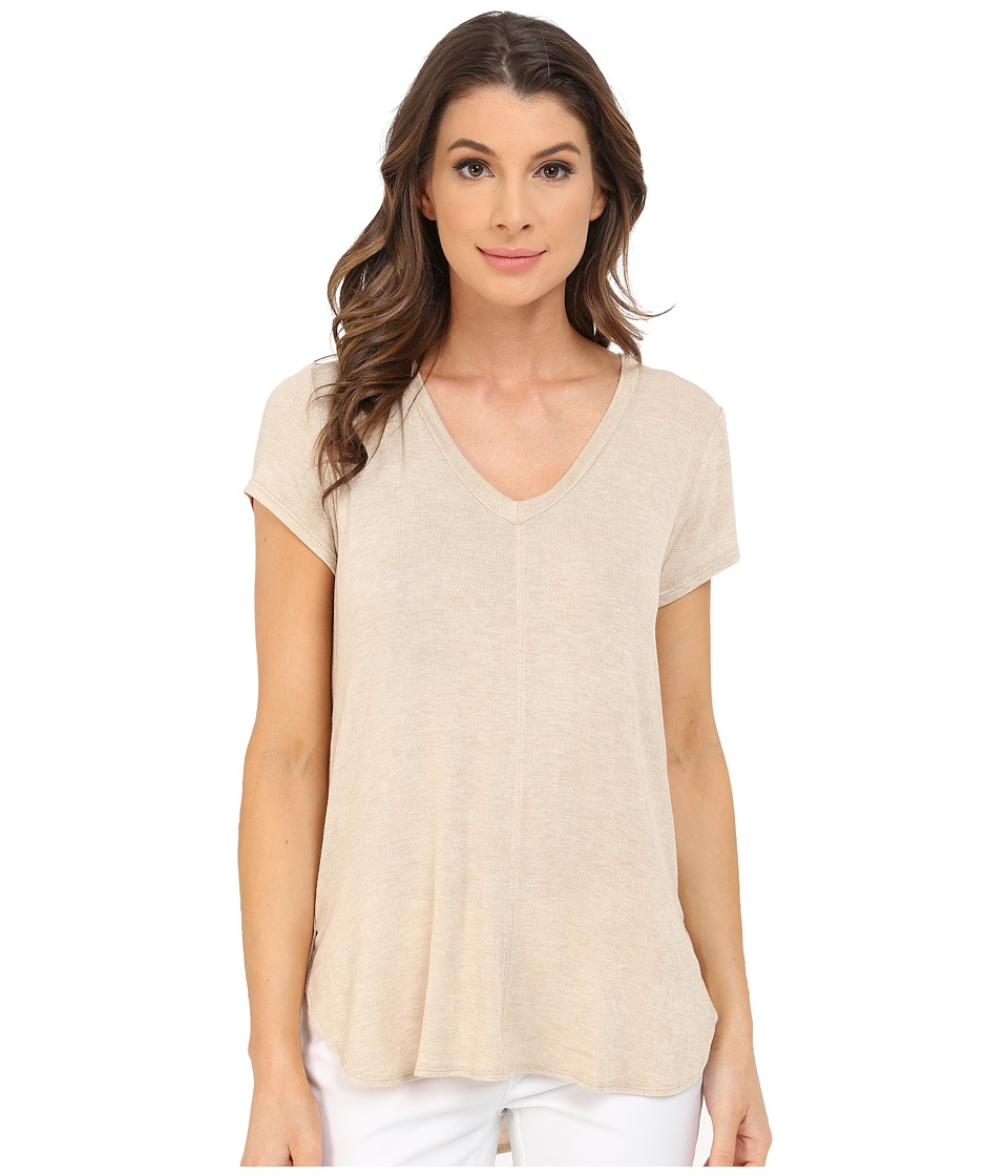 B Collection by Bobeau - Adley V-Neck High-Low T-Shirt (Oatmeal) Women's T Shirt