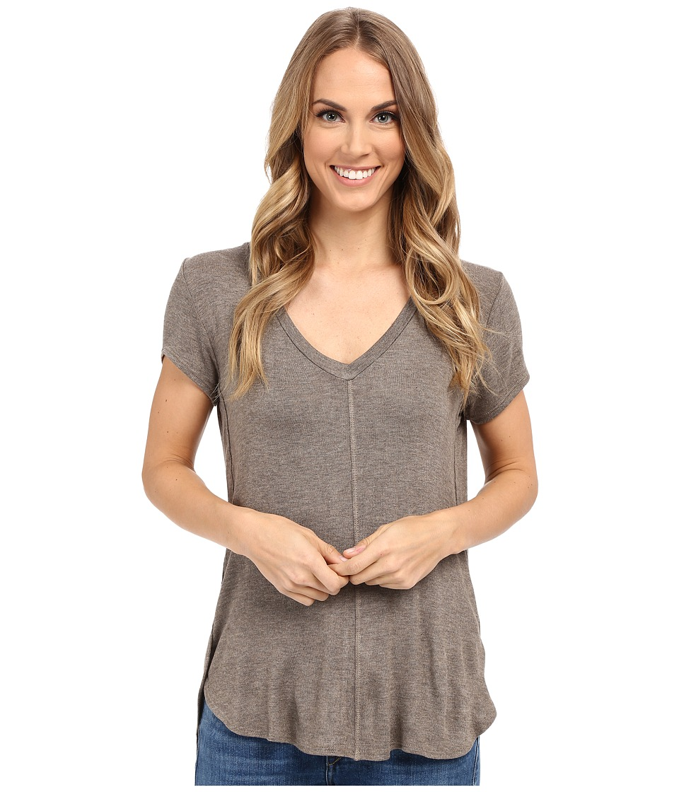 B Collection by Bobeau - Adley V-Neck High-Low T-Shirt (Taupe) Women's T Shirt