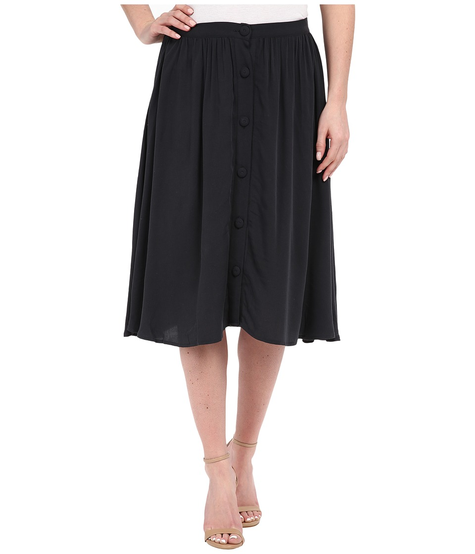 B Collection by Bobeau - Celine Button Front Skirt (Navy) Women's Skirt