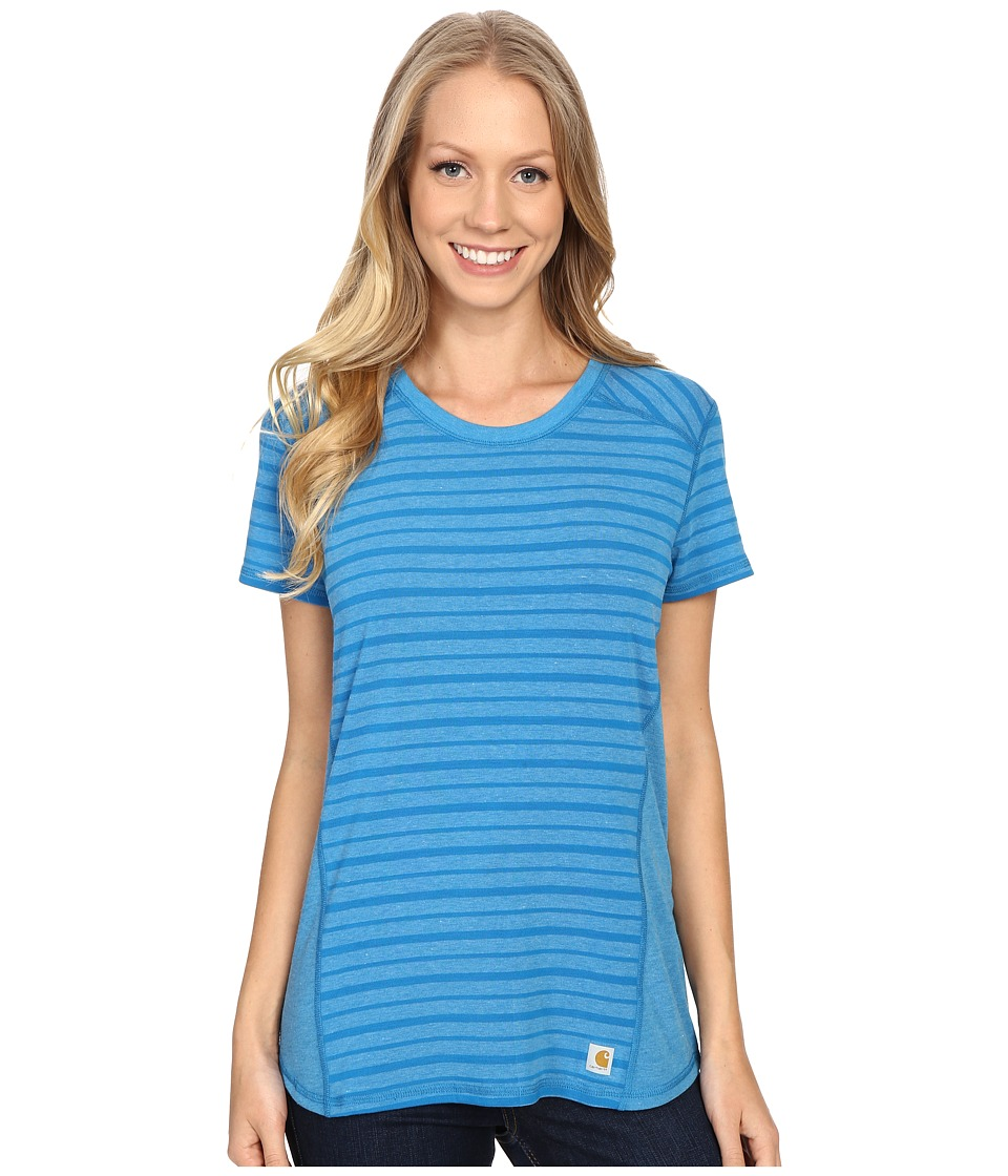 Carhartt - Force T-Shirt Striped (Island Blue Heather) Women's Short Sleeve Pullover