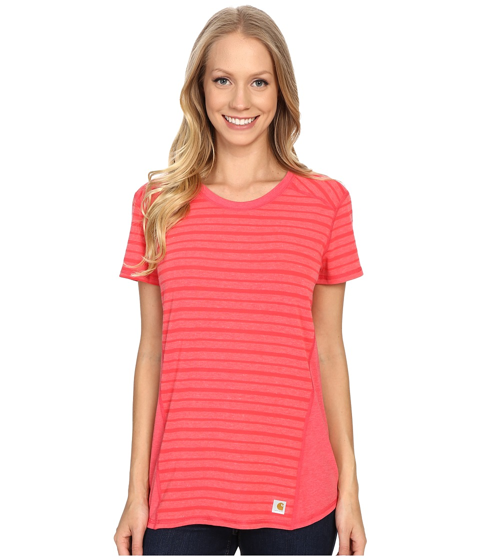 Carhartt - Force T-Shirt Striped (Geranium Coral Heather) Women's Short Sleeve Pullover