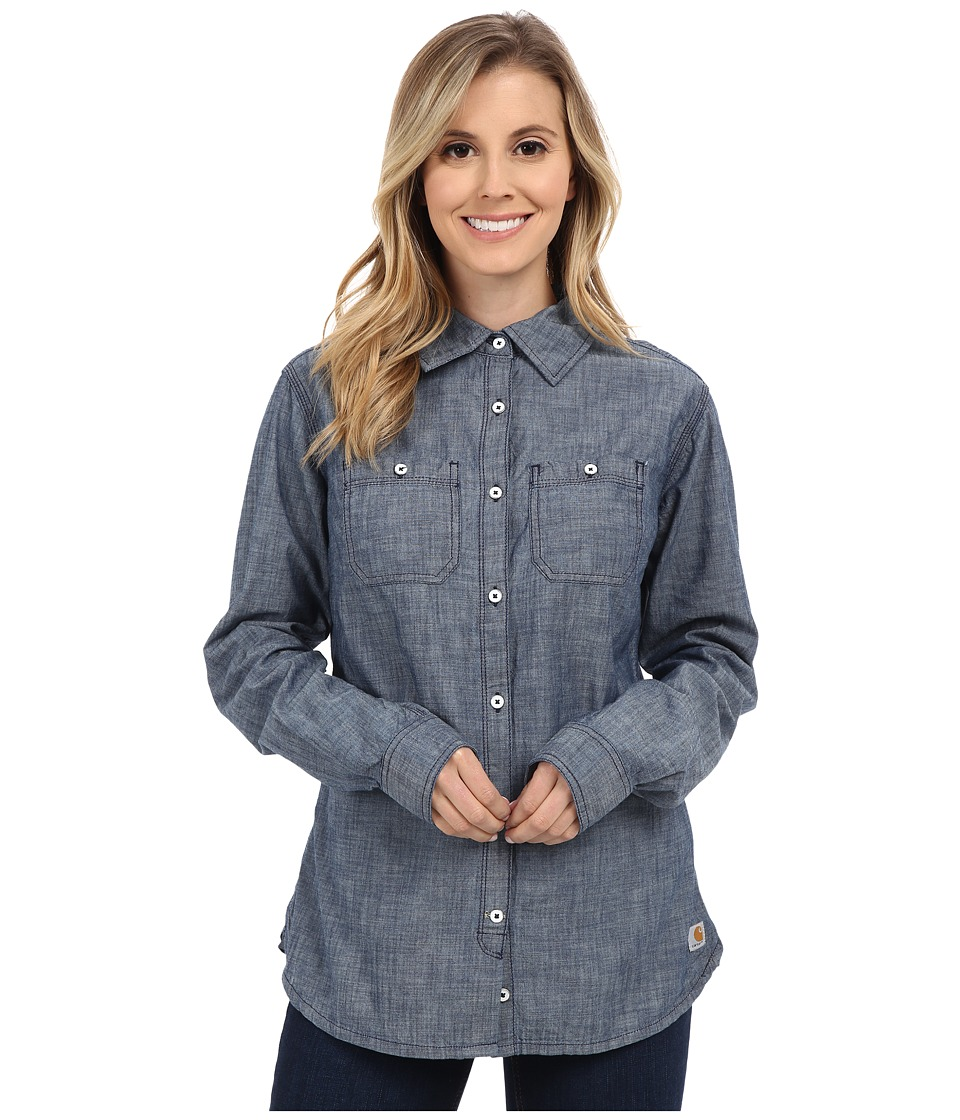 Carhartt - Milam Shirt (Indigo) Women's Long Sleeve Button Up