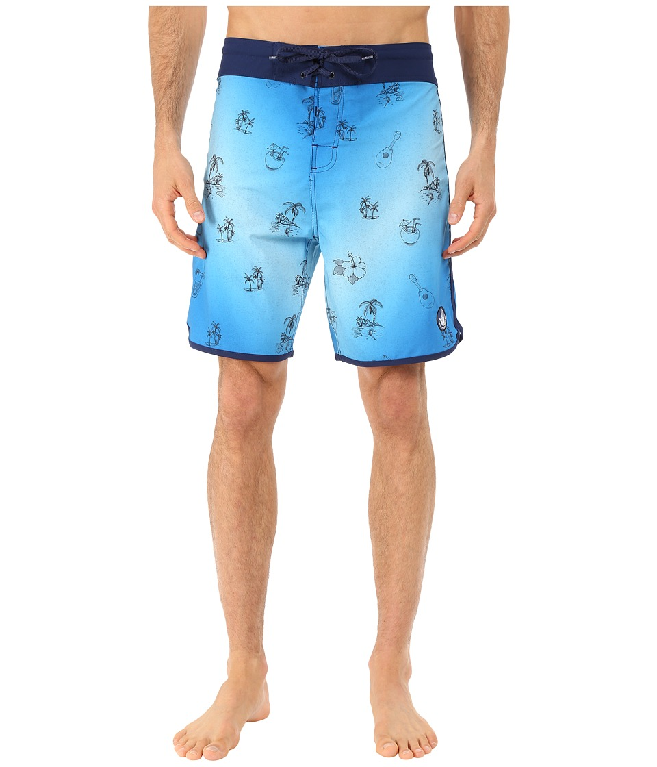 Body Glove - Vaporskin Freakie Tiki Boardshorts (Blue) Men's Swimwear
