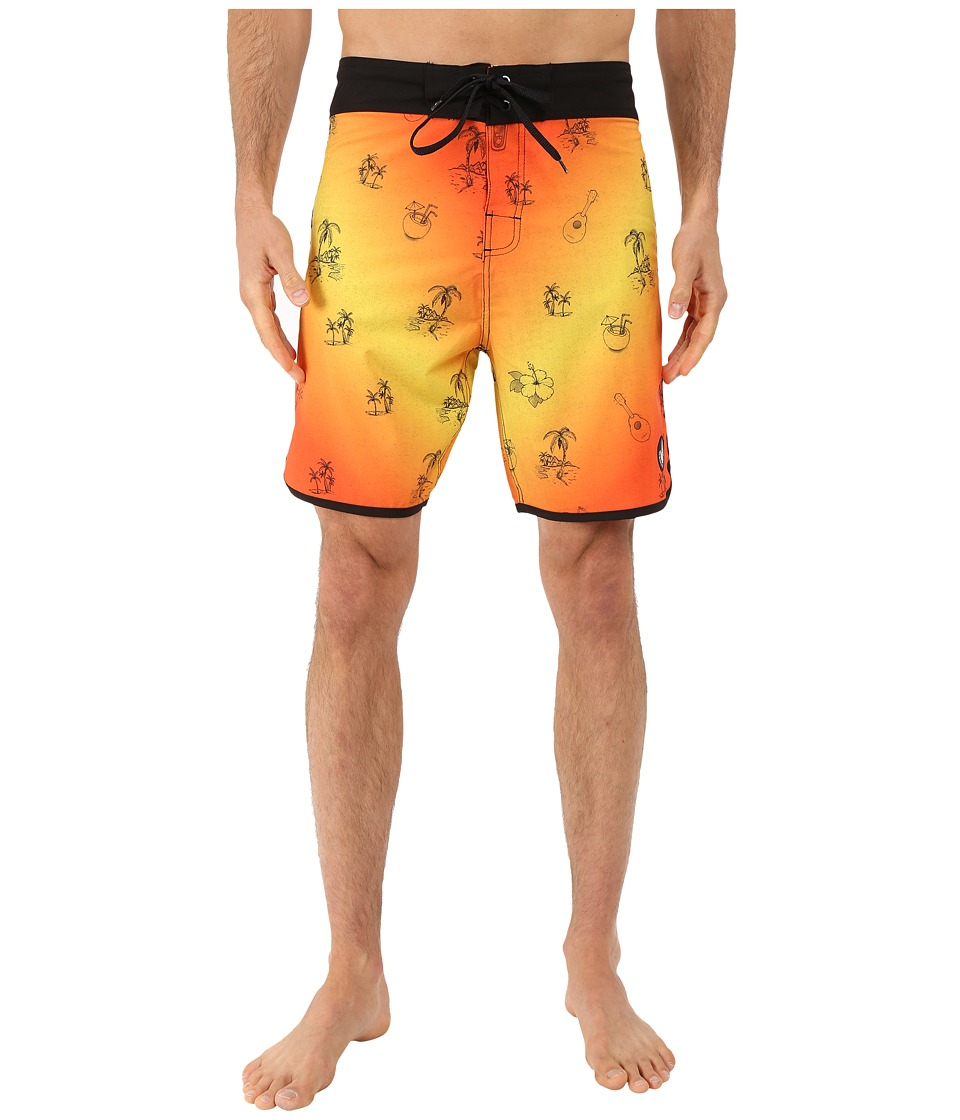 Body Glove - Vaporskin Freakie Tiki Boardshorts (Orange) Men's Swimwear