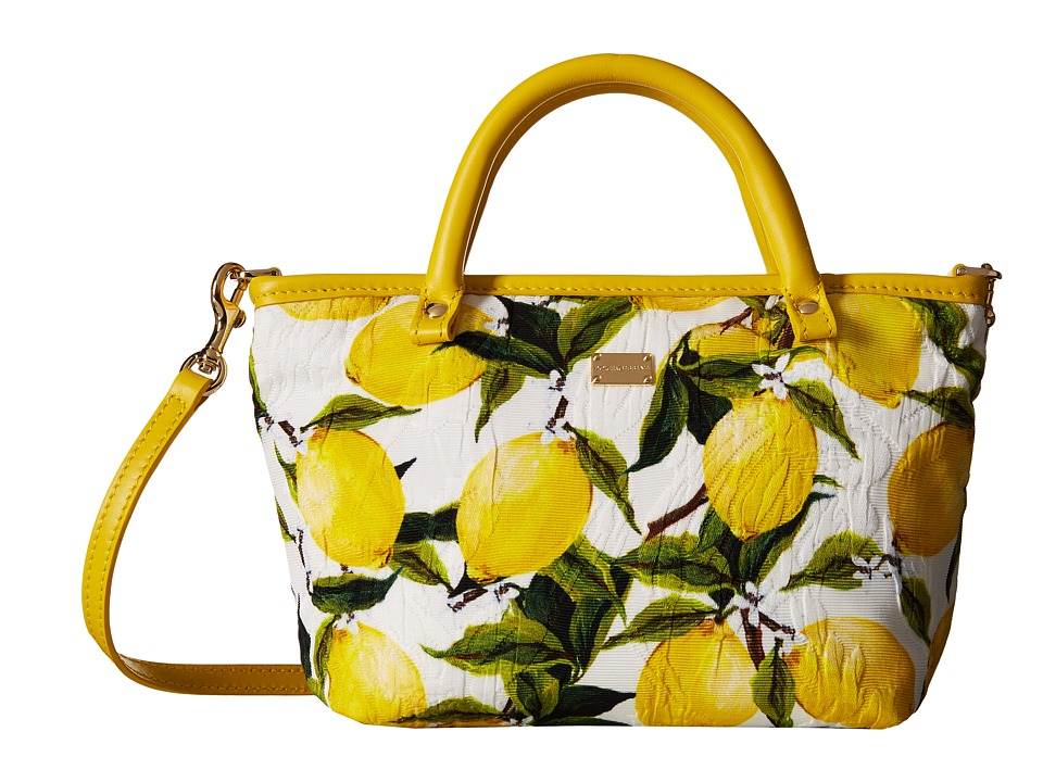 Dolce & Gabbana Kids - Broccade Shopper (Little Kids/Big Kids) (Lemon Print) Handbags