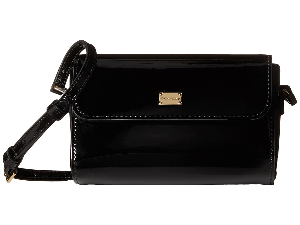 Dolce & Gabbana Kids - Patent Leather Handbag (Little Kids/Big Kids) (Black) Handbags