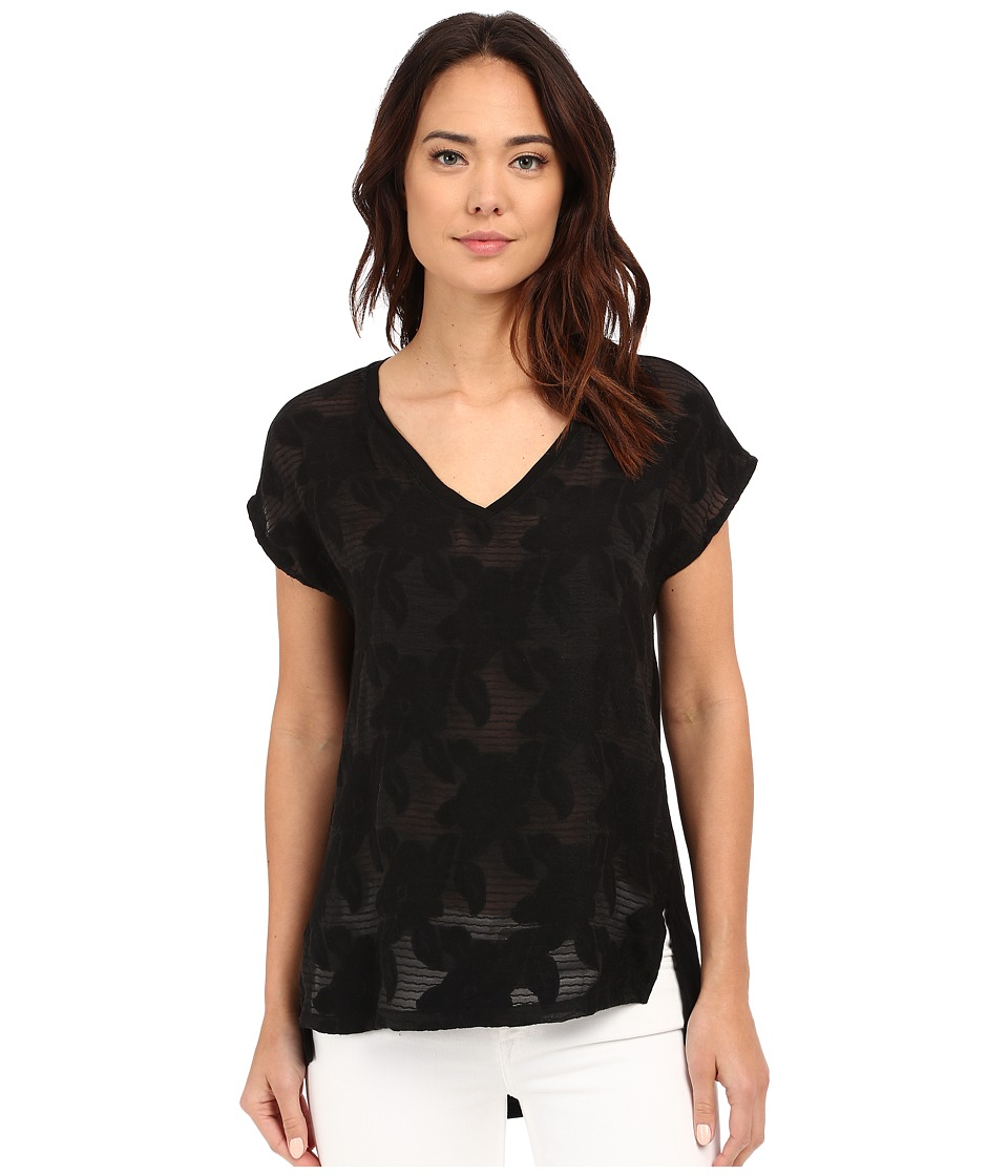 B Collection by Bobeau - Chloe Mixed Media T-Shirt (Black) Women's Blouse