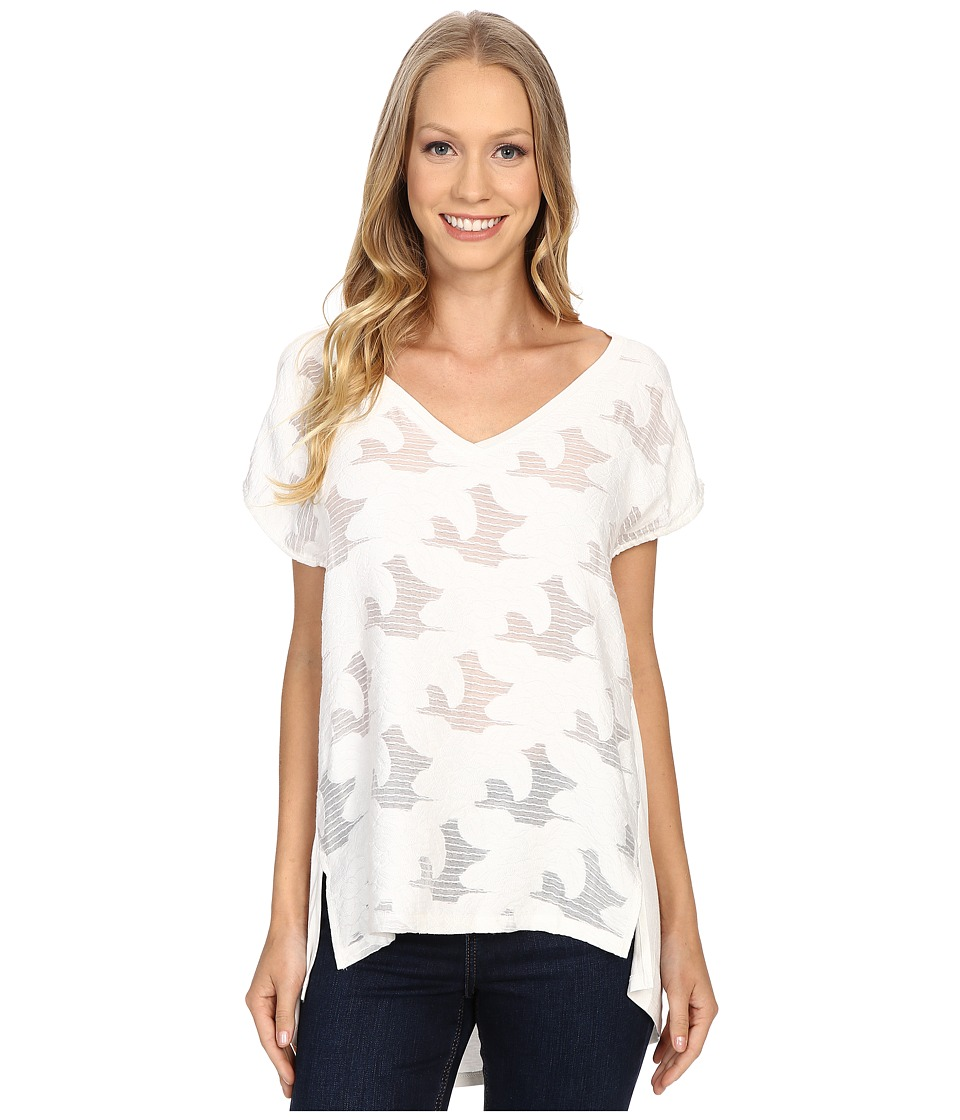 B Collection by Bobeau - Chloe Mixed Media T-Shirt (Ivory) Women's Blouse