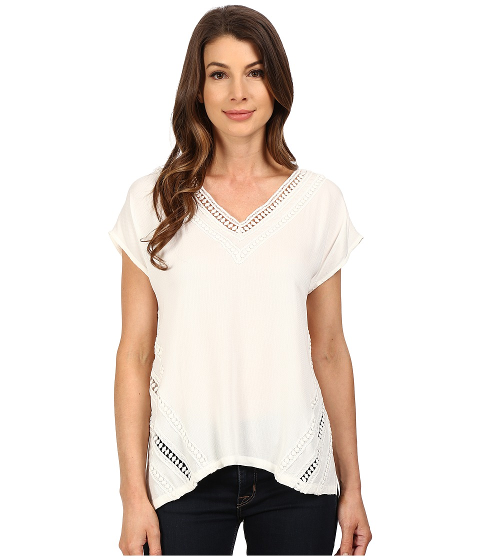 B Collection by Bobeau - Lace Applique Knit Top (Ivory) Women's Clothing
