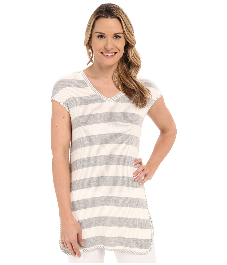 B Collection by Bobeau - Jamie Stripe Tunic w/ Side Slit (Grey) Women's Blouse