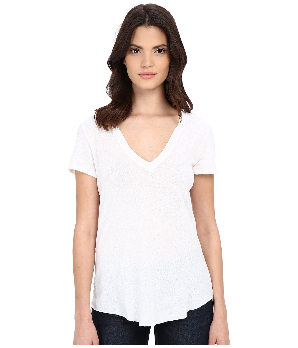 LAmade - V-Neck Tee (White) Women's Short Sleeve Pullover
