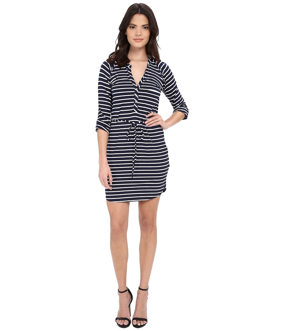 LAmade - Henley 3/4 Sleeve Dress (Navy/White) Women's Dress