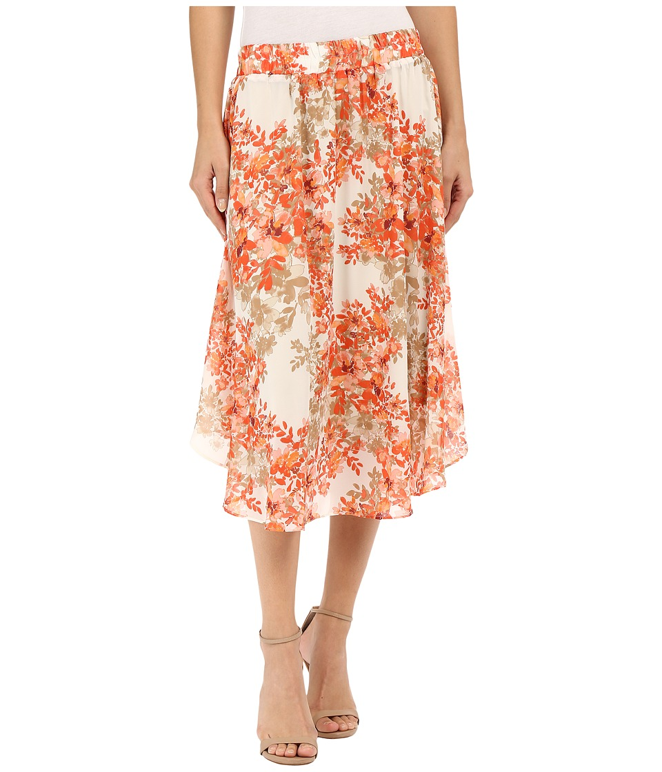 B Collection by Bobeau - Daphne Floral Print Skirt (Coral) Women's Skirt