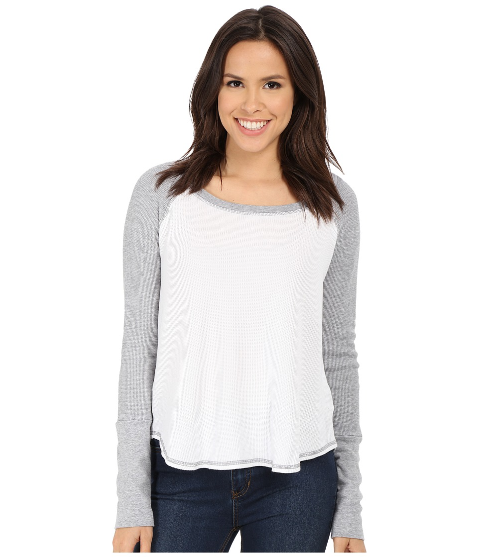 Splendid - Thermal Baseball Tee (White/Heather Grey) Women's T Shirt