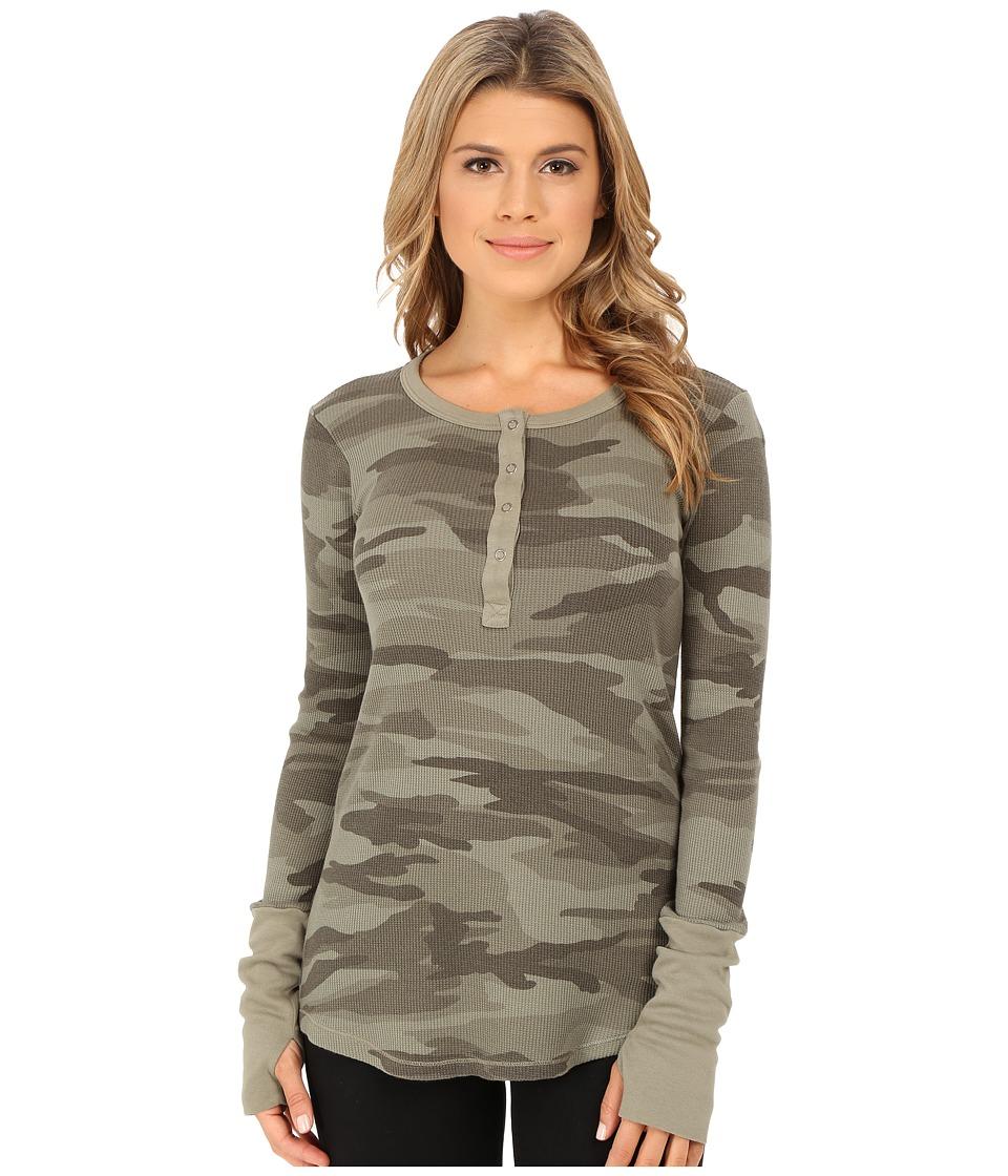 Splendid - Thermal Long Sleeve Henley (Olive) Women's Clothing