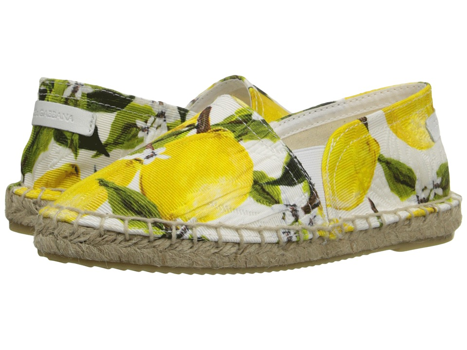 Dolce & Gabbana Kids - Printed Broccade Espadrille (Little Kid/Big Kid) (Lemon Print) Girls Shoes