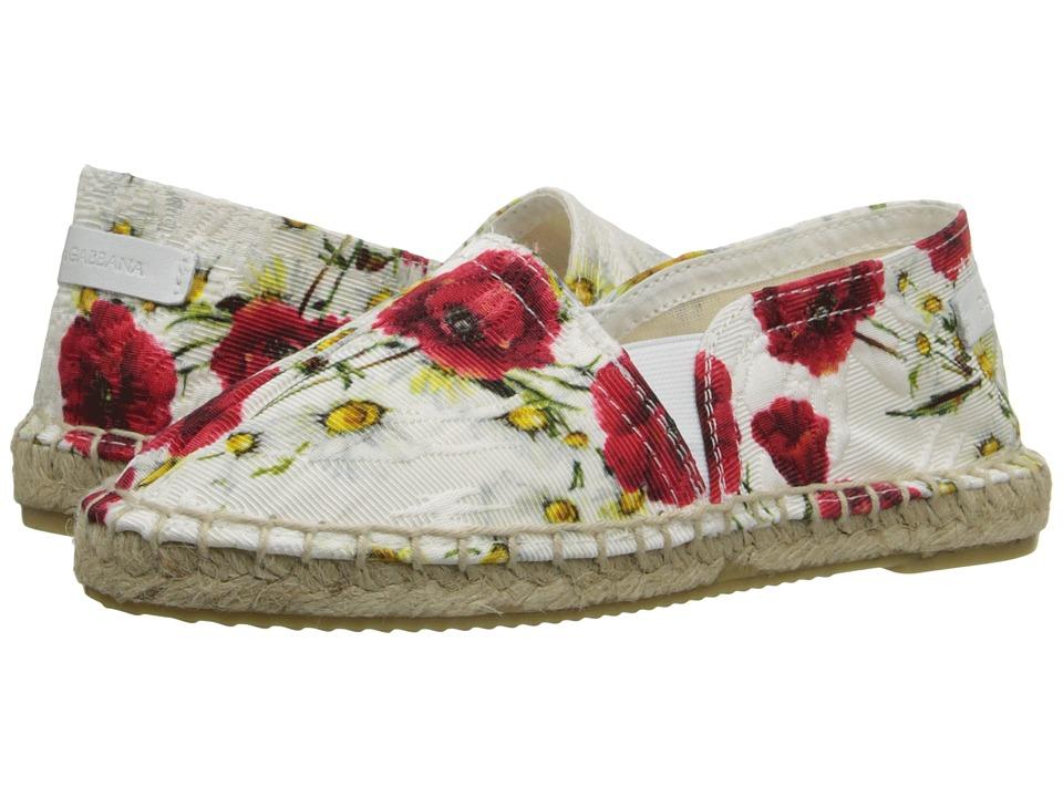 Dolce & Gabbana Kids - Printed Broccade Espadrille (Little Kid/Big Kid) (Rose Print) Girls Shoes