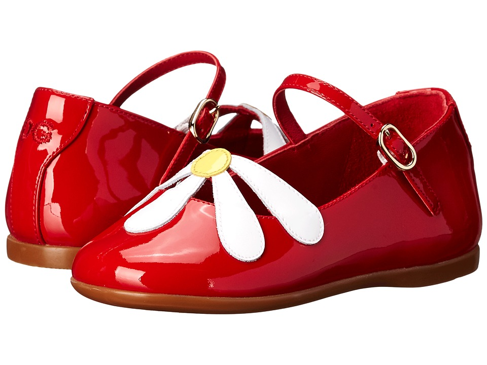 Dolce & Gabbana Kids - Patent Flower Ballerina (Toddler) (Yellow/White/Red) Girls Shoes
