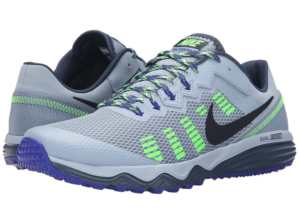 Nike - Dual Fusion Trail 2 (Blue Grey/Squadron Blue/Concord/Electric Green) Men's Running Shoes