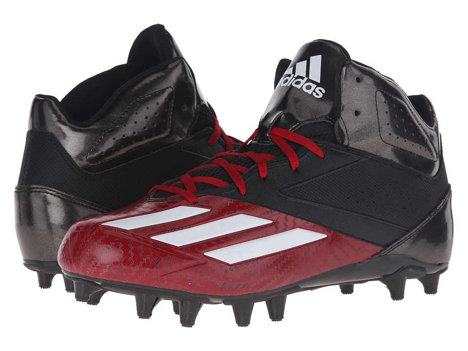 adidas - 5-Star Mid Football (Black/White/Power Red) Men's Cleated Shoes